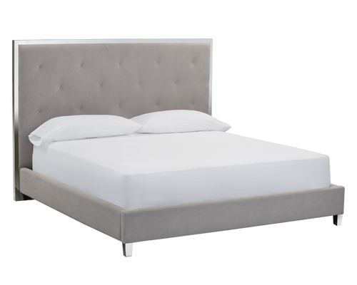 Linen Gray Bed - Furniture