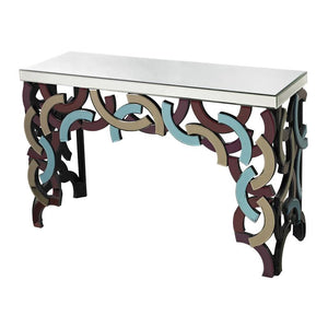 Multi Colored Glass Console Table - Furniture