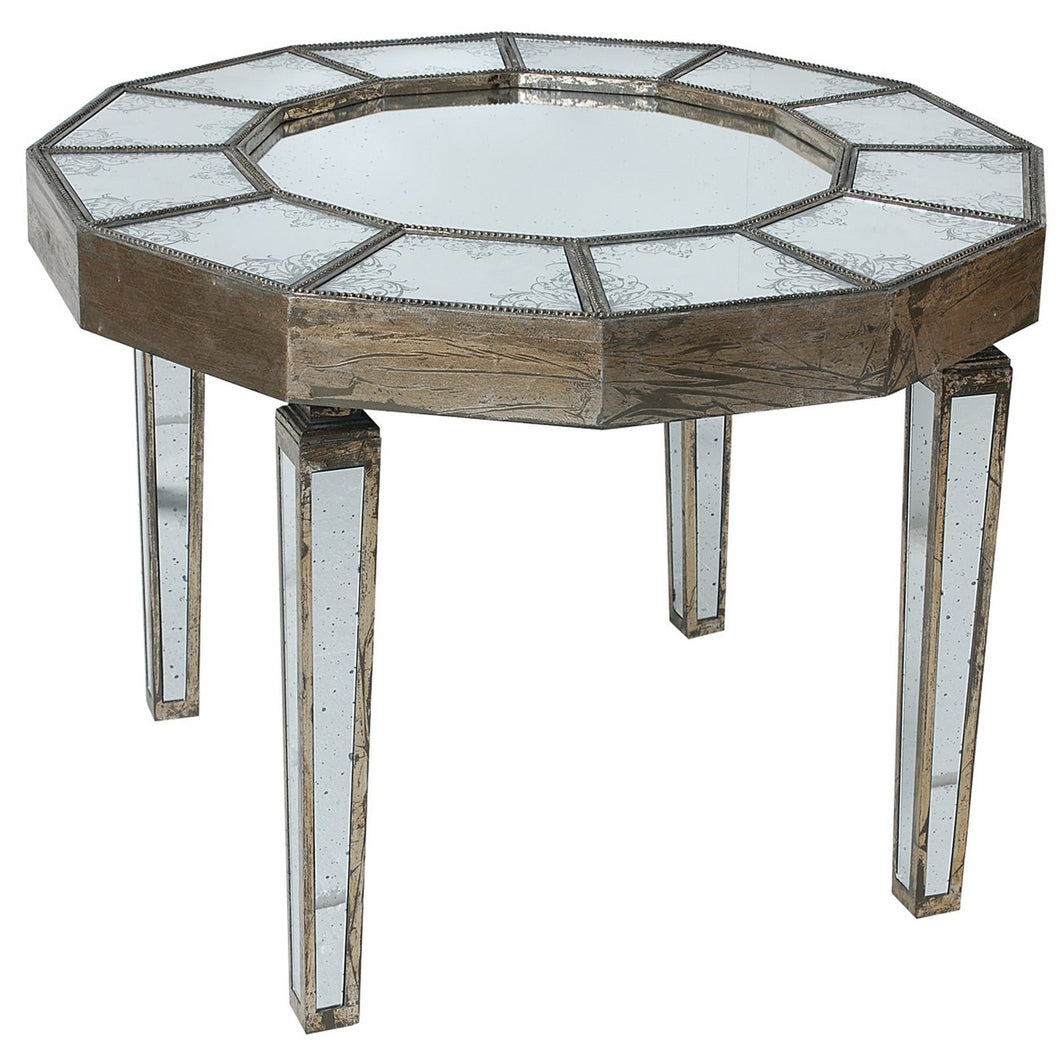 Round Mirrored Table - Furniture