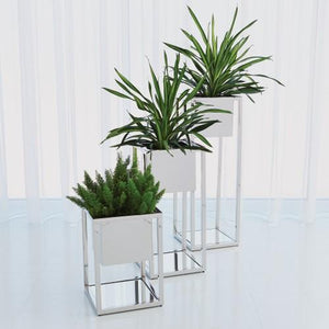 Silver Floor Planters - Home Decor