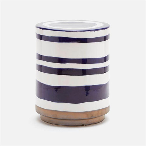 White and Blue Ceramic Stool - Furniture