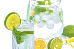 water, lemon, lime, mint, refreshing, fresh, jug, glassware