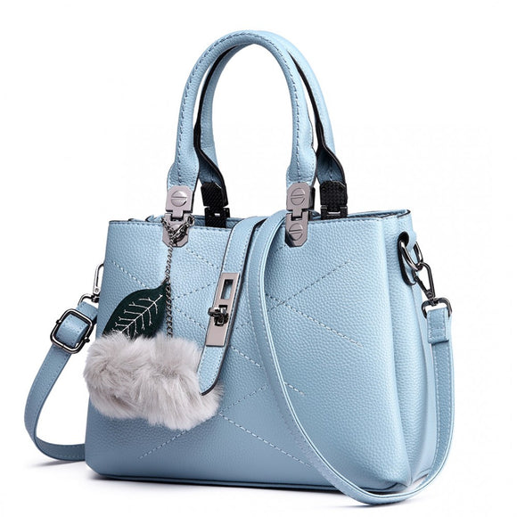 Leather Effect Pom Pom Handbag