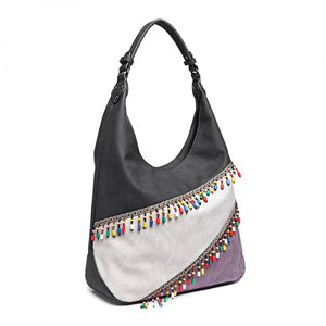 Beaded Colour Block Hobo Handbag