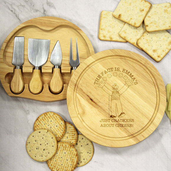 W & G 'Crackers About Cheese' Wooden Round Cheese Board and Knives - The Gift Cafe