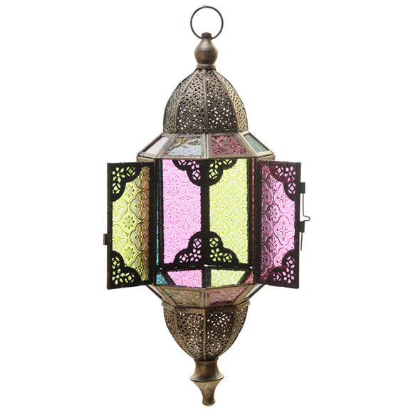 Domed Glass Moroccan Style Metal Hanging Lantern - The Gift Cafe