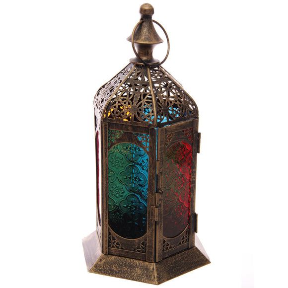 Moroccan Style Detailed Fretwork Glass and Metal Lantern - The Gift Cafe