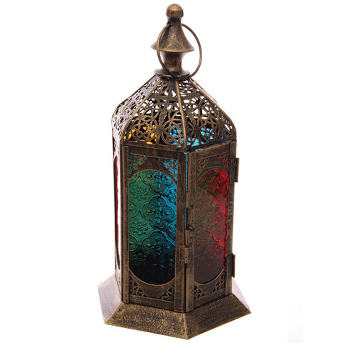 Moroccan Style Detailed Fretwork Glass and Metal Lantern