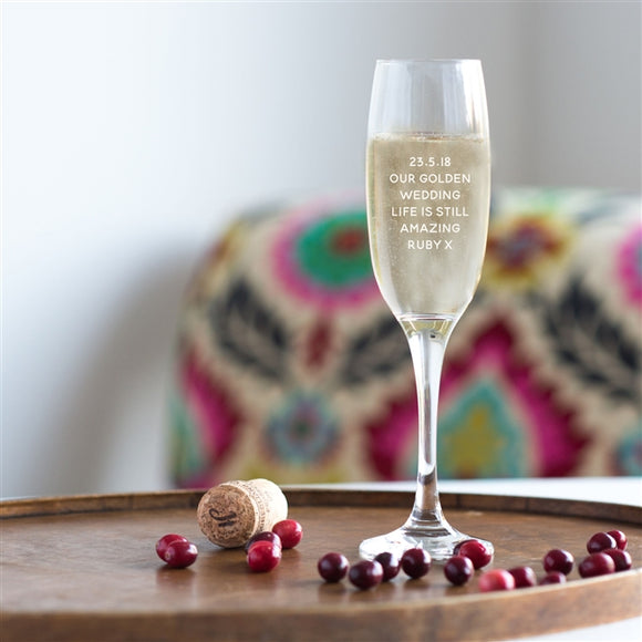 Golden Wedding Champagne Glass - Anniversary, Celebration, Special Occasion
