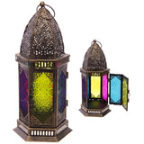 Hexagonal Moroccan Style Metal and Glass Lantern - The Gift Cafe