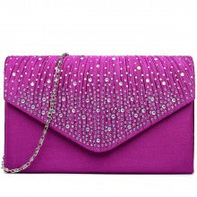 c02754e52a Diamante and Pearl Satin Clutch Evening Bag - Prom/Wedding/Party ...