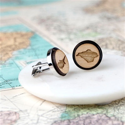 Cherry Wood Map Cufflinks - Bespoke, Personalised, Unique