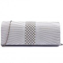 Diamante and Pearl Satin Clutch Evening Bag - The Gift Cafe