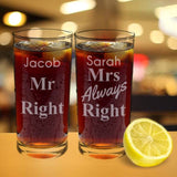 Mr & Mrs Always Right Glass Set - The Gift Cafe