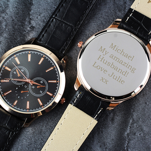 Personalised Men's Rose Gold Watch with Black Strap - The Gift Cafe