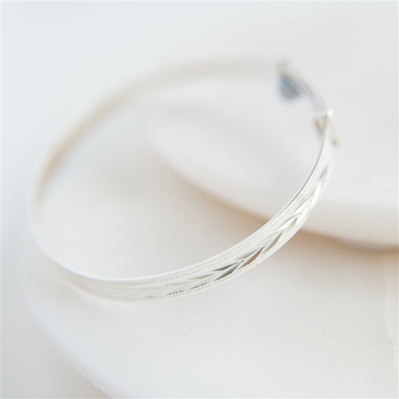 Sterling Silver Patterned Christening Bangle - The Gift Cafe