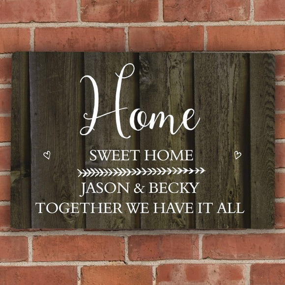 Personalised Walnut Wood Grain Metal Sign - The Gift Cafe