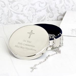 Personalised Rosary Beads and Cross Round Trinket Box - The Gift Cafe