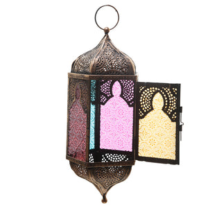 Pointed Glass Moroccan Style Metal Hanging Lantern - The Gift Cafe