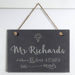 Teachers Shape Little Minds Slate Hanging Sign - The Gift Cafe