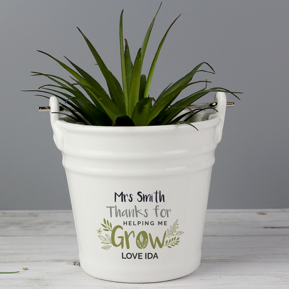 Personalised 'Thanks for Helping Me Grow' Porcelain Planter - The Gift Cafe