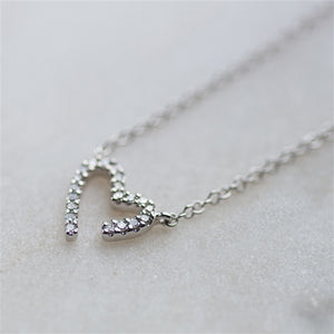 Modern White Gold Diamond Heart Necklace - The Gift Cafe