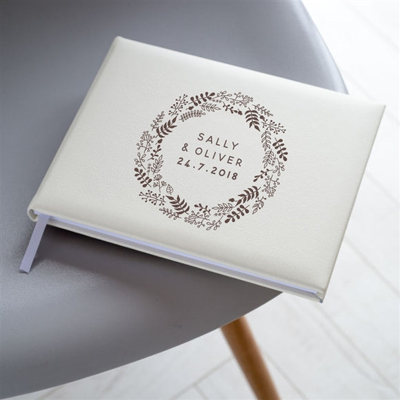 Ivory Leather Wreath Guest Book - The Gift Cafe