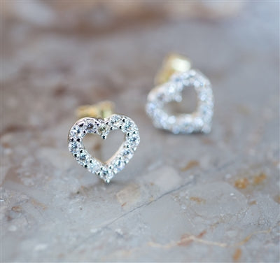 Cubic Zirconia Open Heart Studs - Earrings, Birthday, Weddings