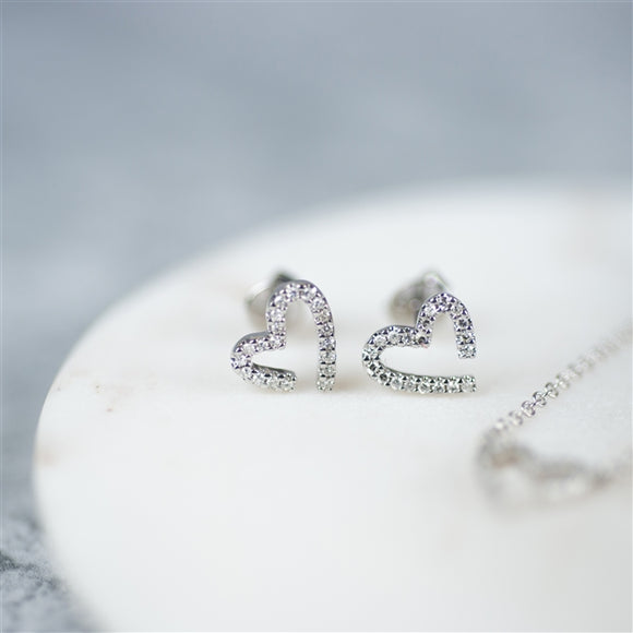 Modern White Gold Diamond Heart Earrings - The Gift Cafe