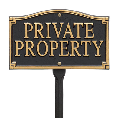 Private Property Statement Plaque - Wall/Lawn - Black/Gold