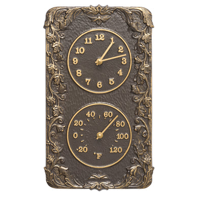 Acanthus Combo Clock And Thermomter - French Bronze