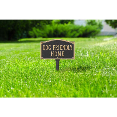 Dog Friendly Home Sign, Cast Aluminum -  Wall Or Lawn Mounting