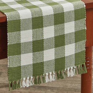 "Wicklow Check Sage Cotton Table Runner, 13"" x 54"""