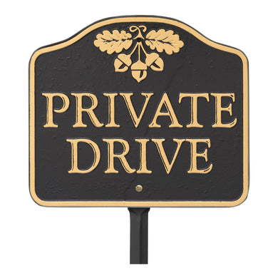 Private Drive Sign,  Cast Aluminum - Wall or Lawn Mounting