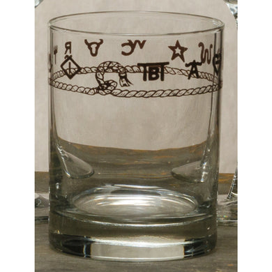 Set of 4 - 14oz Double Old Fashion Whiskey Glasses with Brands