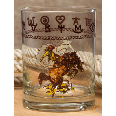 Set of 4 - 14oz Double Old Fashion Whiskey Glasses with Bronco Buster or Boots & Saddle