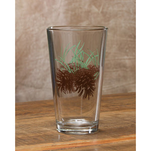 Set of 4 - 20oz Pint Glasses with Pinecones
