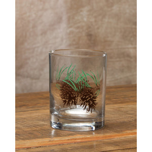 Set of 4 - 14oz Double Old Fashion Whiskey Glasses with Pinecones