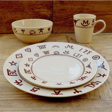 16 PC Western Brands Stoneware Dinnerware Set