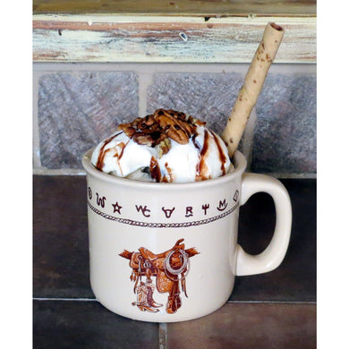 Western Stoneware Extra Large Camp / Soup Mug, 20 oz, Brands, Bronco or Boots & Saddle