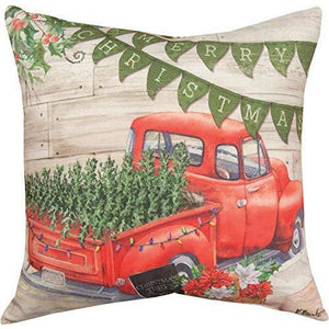 "Merry Christmas Farmhouse Pickup Holiday 18"" X 18"" Throw Pillow"