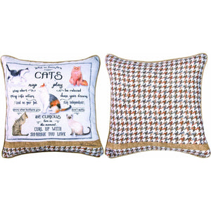 "What We Learn from Cats 18"" x 18"" Throw Pillow"