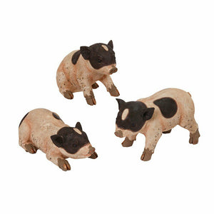 "11.5"" Magnesium Black White Baby Piglets Pig Farm Animal Set/3"