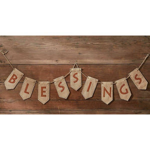 Blessings Banner Fall Thanksgiving Autumn Decor