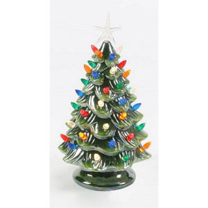 "12.5"" Vintage Style Tabletop Battery Ceramic Christmas Tree w/ Lights"