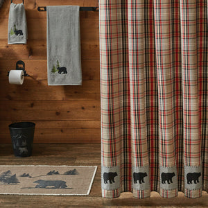 "Bear Country Plaid Shower Curtain with Bear 72"" x 72"""