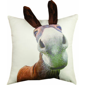 "Donkey w/ 3D Ears Printed Applique Pillow 18"" X 18"""
