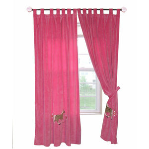 "Cowgirl Pink Leopard Horse Polyester Plush Drapes Curtain Set  54"" x 84"""