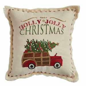 "10"" x 10"" Have A Holly Jolly Christmas Woody Station Wagon W/ Tree Pillow"