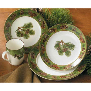 16 PC Ceramic Pinecone Dinnerware Set